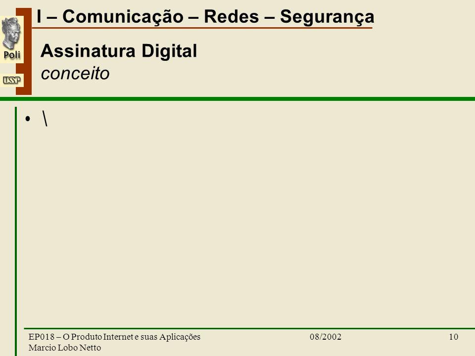 I – Comunicação – Redes – Segurança 08/2002EP018 – O Produto Internet e suas Aplicações Marcio Lobo Netto 10 Assinatura Digital conceito \