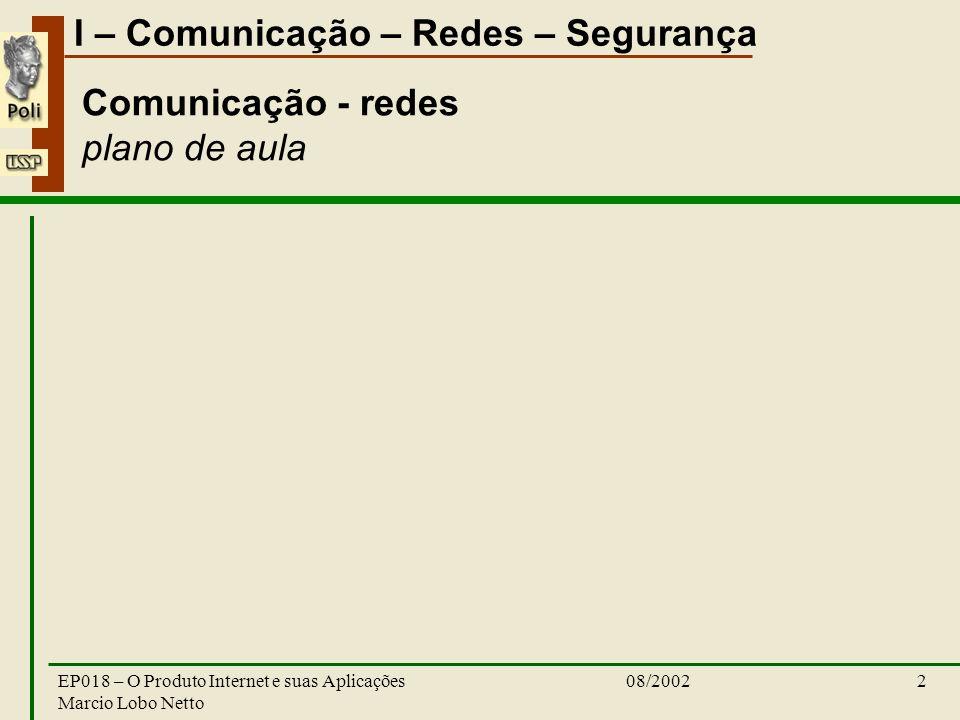 I – Comunicação – Redes – Segurança 08/2002EP018 – O Produto Internet e suas Aplicações Marcio Lobo Netto 13 Tendências, Desafios e Pesquisas Integração segurança e QoS