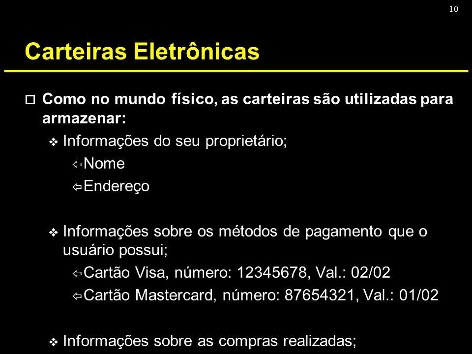 10 Carteiras Eletrônicas o Como no mundo físico, as carteiras são utilizadas para armazenar: v Informações do seu proprietário; ï Nome ï Endereço v In