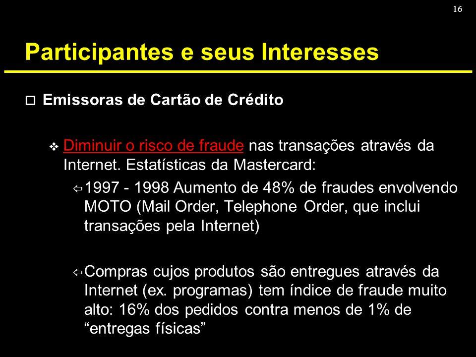 16 Participantes e seus Interesses o Emissoras de Cartão de Crédito v Diminuir o risco de fraude nas transações através da Internet. Estatísticas da M