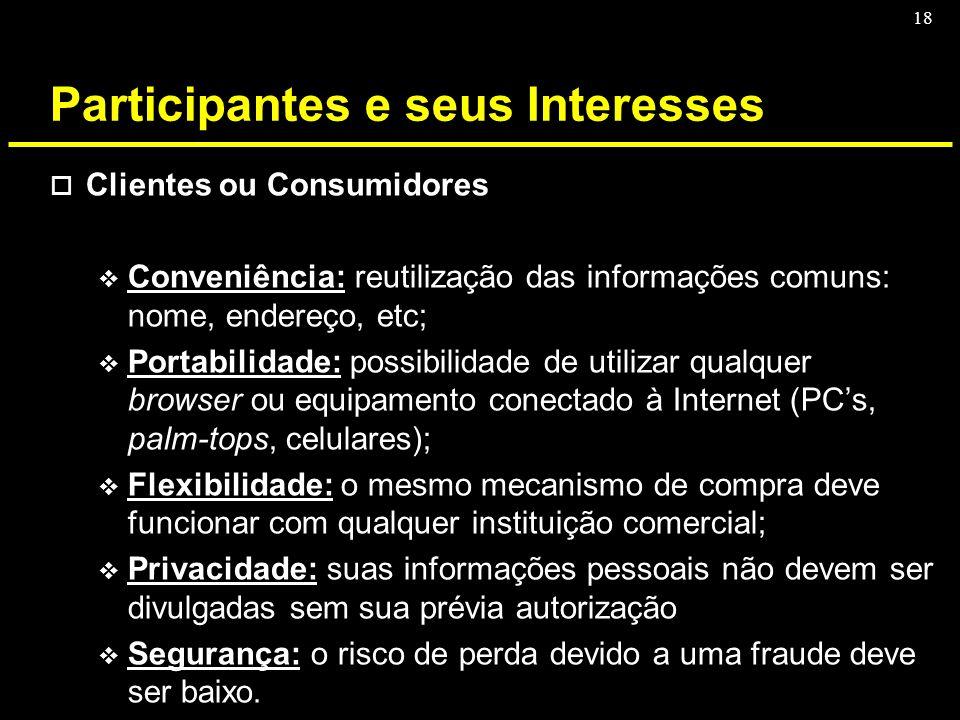 18 Participantes e seus Interesses o Clientes ou Consumidores v Conveniência: reutilização das informações comuns: nome, endereço, etc; v Portabilidad