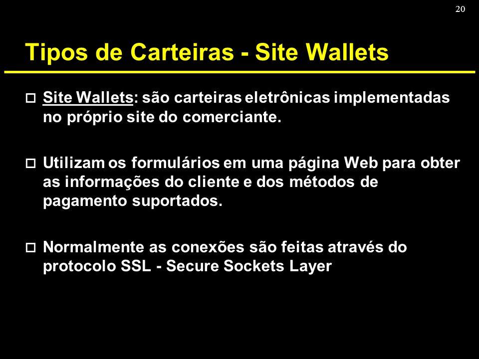 20 Tipos de Carteiras - Site Wallets o Site Wallets: são carteiras eletrônicas implementadas no próprio site do comerciante. o Utilizam os formulários