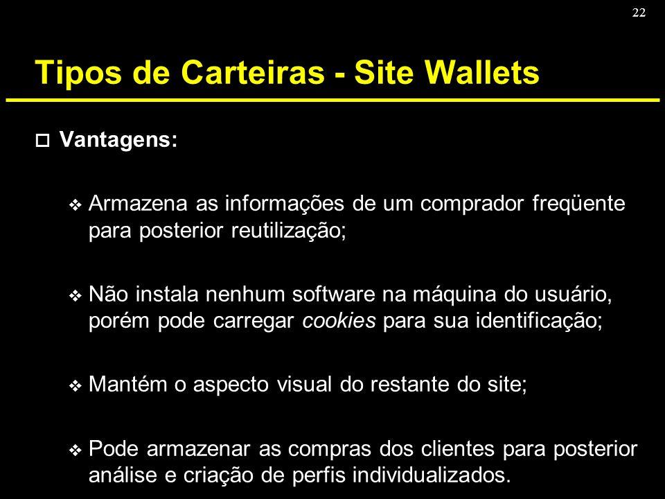 22 Tipos de Carteiras - Site Wallets o Vantagens: v Armazena as informações de um comprador freqüente para posterior reutilização; v Não instala nenhu