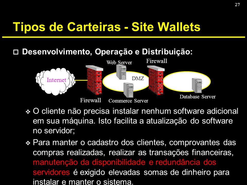 27 Tipos de Carteiras - Site Wallets o Desenvolvimento, Operação e Distribuição: v O cliente não precisa instalar nenhum software adicional em sua máq