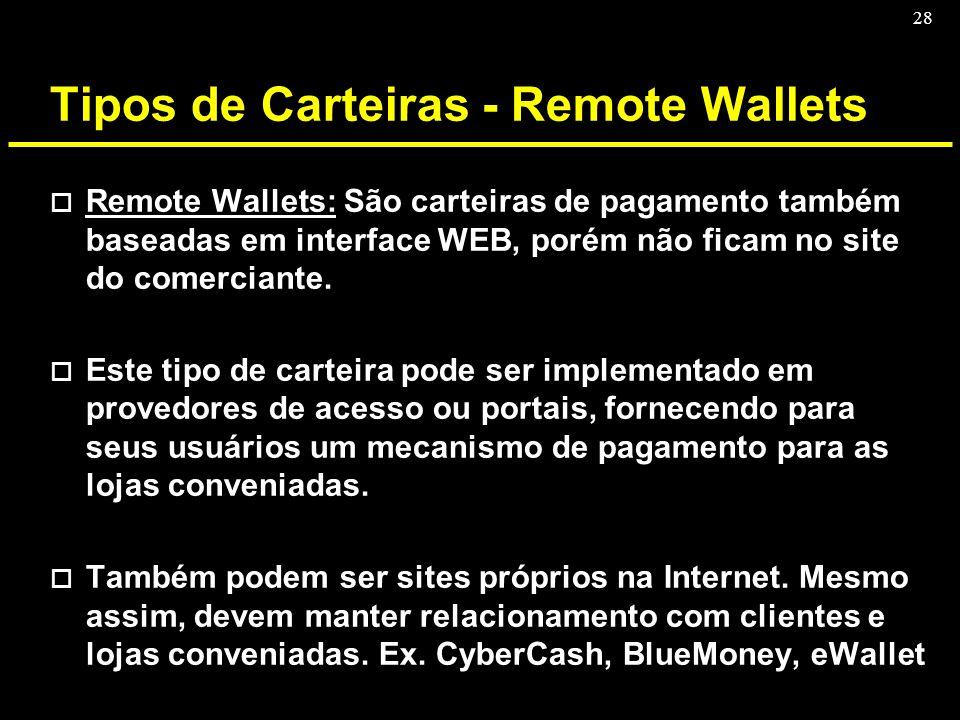 28 Tipos de Carteiras - Remote Wallets o Remote Wallets: São carteiras de pagamento também baseadas em interface WEB, porém não ficam no site do comer