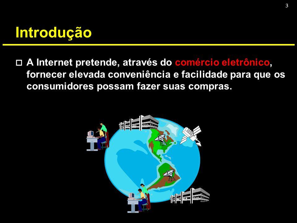 3 Introdução o A Internet pretende, através do comércio eletrônico, fornecer elevada conveniência e facilidade para que os consumidores possam fazer s