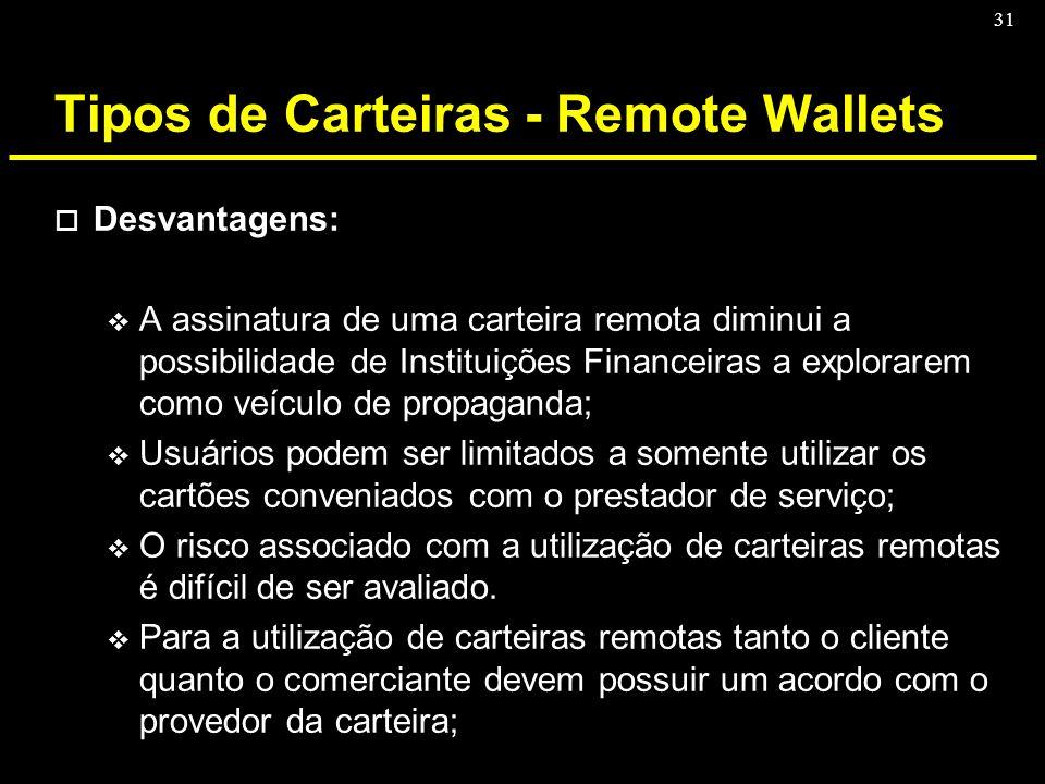 31 Tipos de Carteiras - Remote Wallets o Desvantagens: v A assinatura de uma carteira remota diminui a possibilidade de Instituições Financeiras a exp