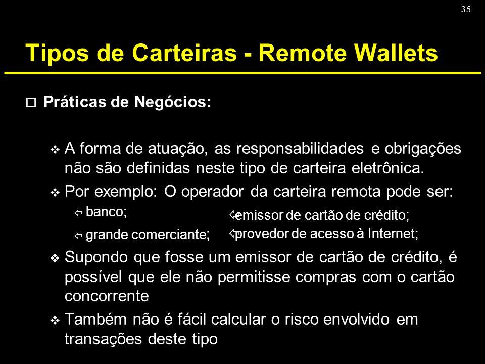 35 Tipos de Carteiras - Remote Wallets o Práticas de Negócios: v A forma de atuação, as responsabilidades e obrigações não são definidas neste tipo de
