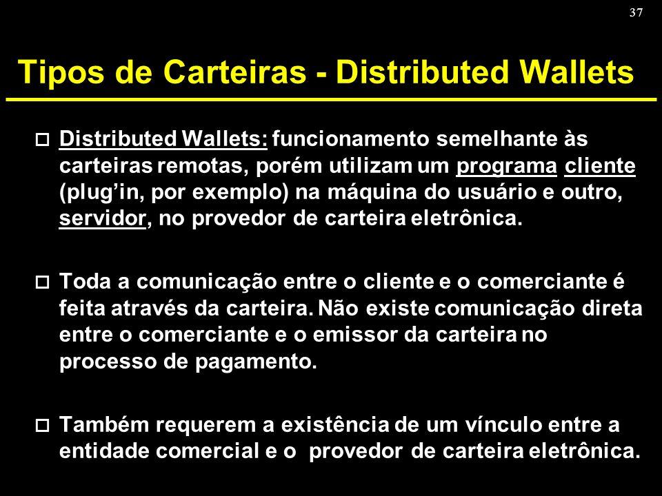 37 Tipos de Carteiras - Distributed Wallets o Distributed Wallets: funcionamento semelhante às carteiras remotas, porém utilizam um programa cliente (