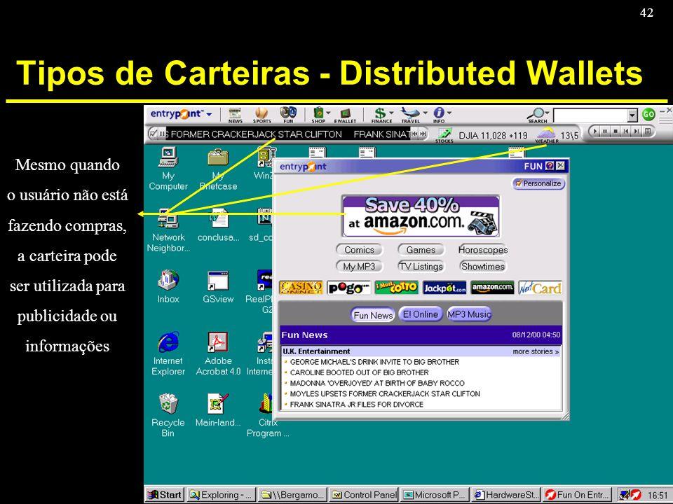 42 Tipos de Carteiras - Distributed Wallets Mesmo quando o usuário não está fazendo compras, a carteira pode ser utilizada para publicidade ou informa