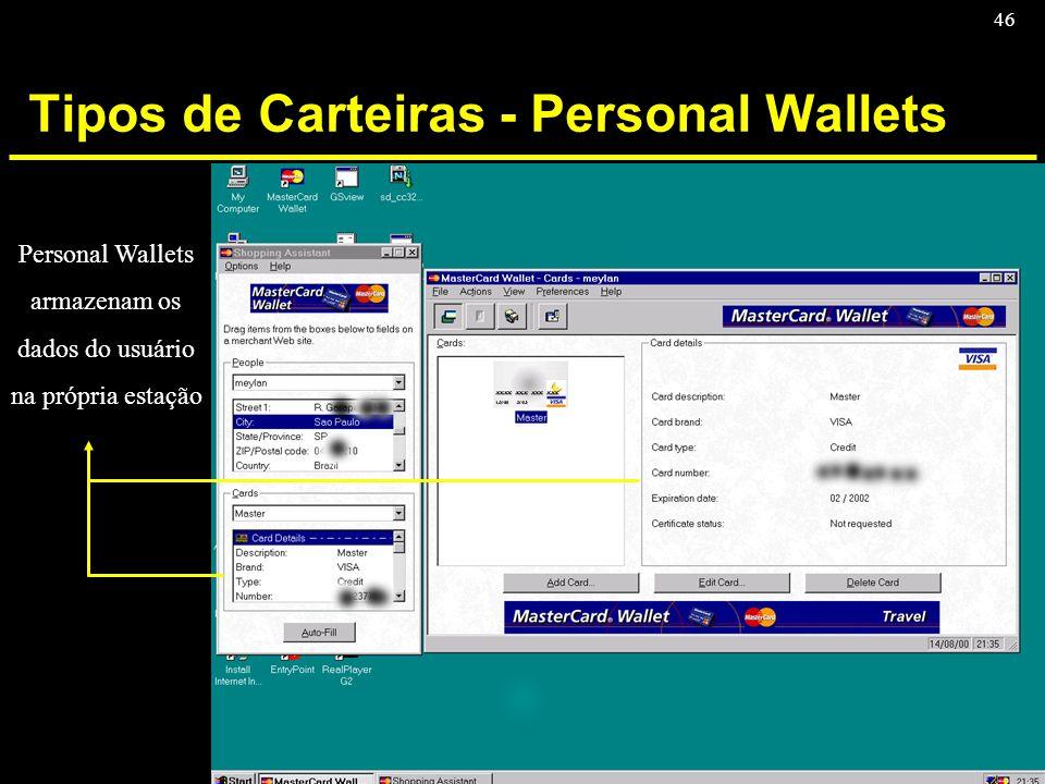 46 Tipos de Carteiras - Personal Wallets Personal Wallets armazenam os dados do usuário na própria estação