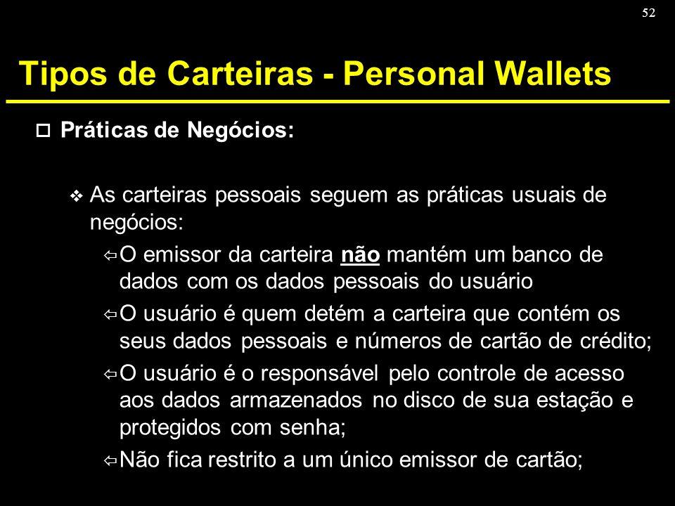 52 Tipos de Carteiras - Personal Wallets o Práticas de Negócios: v As carteiras pessoais seguem as práticas usuais de negócios: ï O emissor da carteir