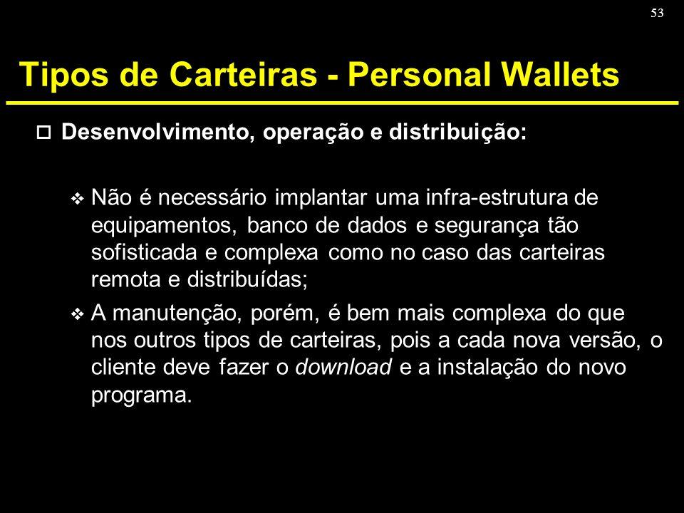 53 Tipos de Carteiras - Personal Wallets o Desenvolvimento, operação e distribuição: v Não é necessário implantar uma infra-estrutura de equipamentos,