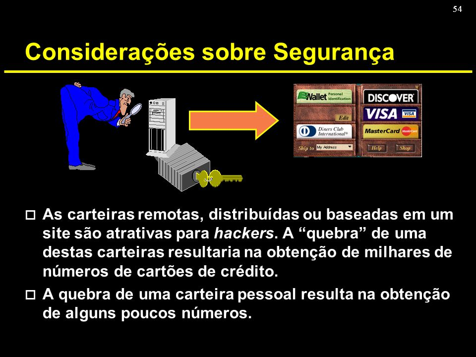 54 Considerações sobre Segurança o As carteiras remotas, distribuídas ou baseadas em um site são atrativas para hackers. A quebra de uma destas cartei