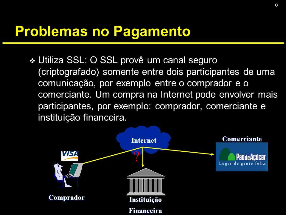 9 Problemas no Pagamento v Utiliza SSL: O SSL provê um canal seguro (criptografado) somente entre dois participantes de uma comunicação, por exemplo e