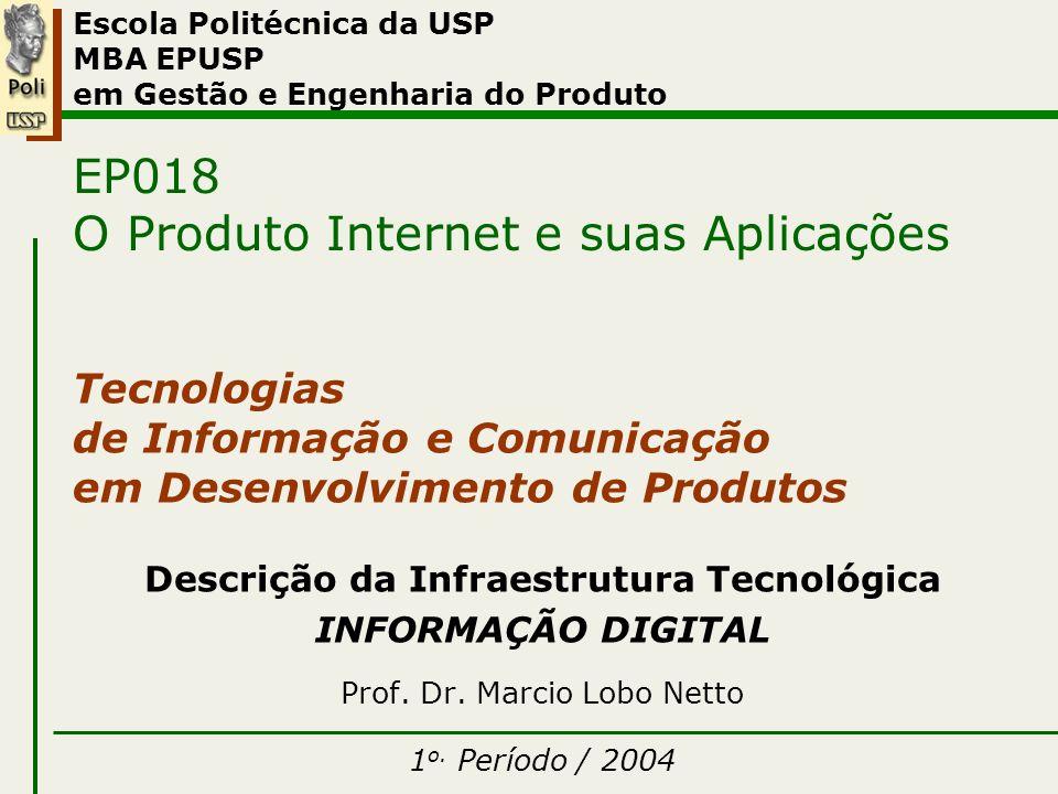 I – Informação Digital Escola Politécnica da USP MBA EPUSP em Gestão e Engenharia do Produto EP018 O Produto Internet e suas Aplicações Tecnologias de