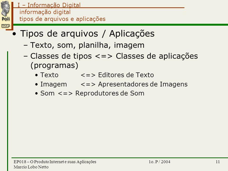 I – Informação Digital 1o. P / 2004EP018 – O Produto Internet e suas Aplicações Marcio Lobo Netto 11 informação digital tipos de arquivos e aplicações