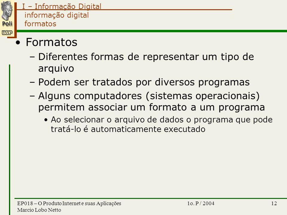 I – Informação Digital 1o. P / 2004EP018 – O Produto Internet e suas Aplicações Marcio Lobo Netto 12 informação digital formatos Formatos –Diferentes