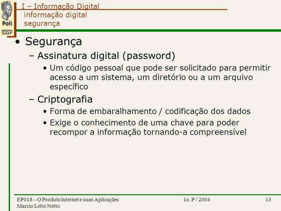 I – Informação Digital 1o. P / 2004EP018 – O Produto Internet e suas Aplicações Marcio Lobo Netto 13 informação digital segurança Segurança –Assinatur