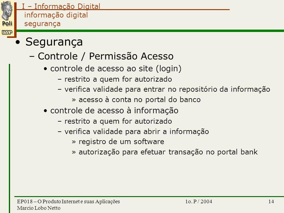 I – Informação Digital 1o. P / 2004EP018 – O Produto Internet e suas Aplicações Marcio Lobo Netto 14 informação digital segurança Segurança –Controle