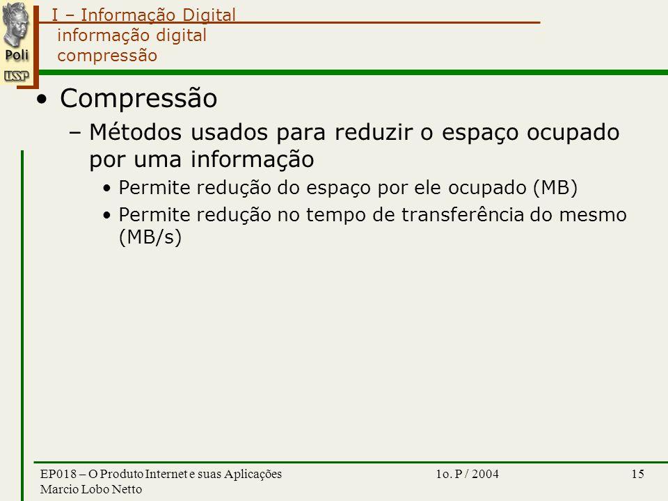 I – Informação Digital 1o. P / 2004EP018 – O Produto Internet e suas Aplicações Marcio Lobo Netto 15 informação digital compressão Compressão –Métodos