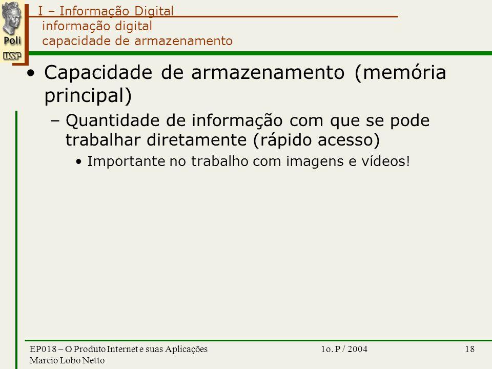 I – Informação Digital 1o. P / 2004EP018 – O Produto Internet e suas Aplicações Marcio Lobo Netto 18 informação digital capacidade de armazenamento Ca