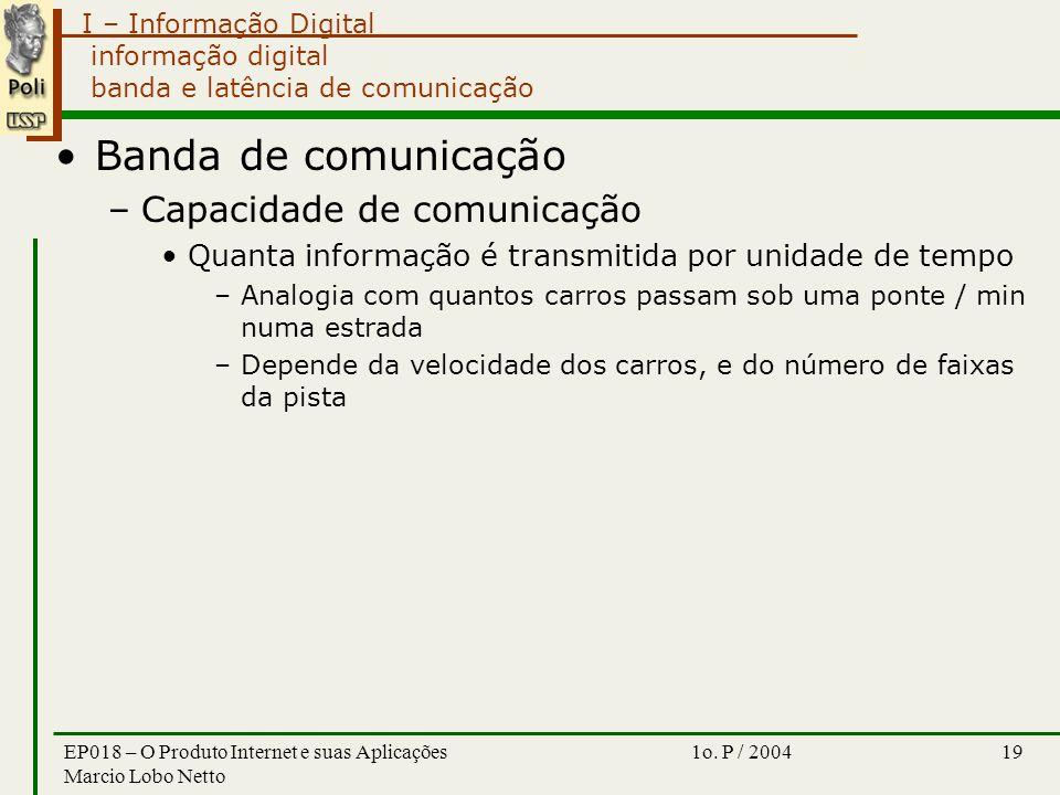 I – Informação Digital 1o. P / 2004EP018 – O Produto Internet e suas Aplicações Marcio Lobo Netto 19 informação digital banda e latência de comunicaçã
