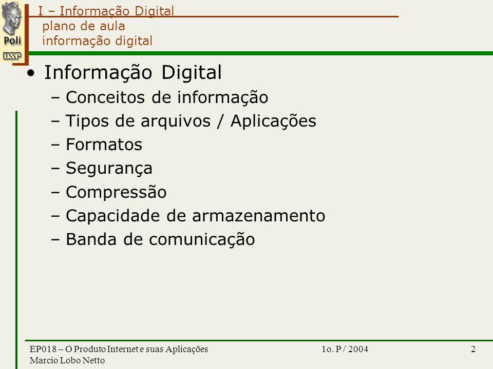 I – Informação Digital 1o. P / 2004EP018 – O Produto Internet e suas Aplicações Marcio Lobo Netto 2 plano de aula informação digital Informação Digita