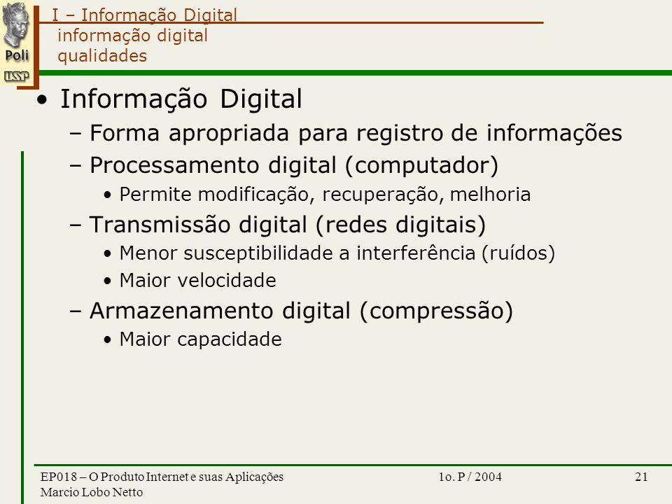 I – Informação Digital 1o. P / 2004EP018 – O Produto Internet e suas Aplicações Marcio Lobo Netto 21 informação digital qualidades Informação Digital