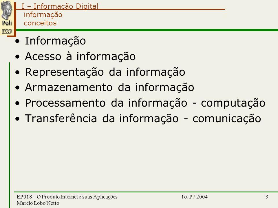 I – Informação Digital 1o. P / 2004EP018 – O Produto Internet e suas Aplicações Marcio Lobo Netto 3 informação conceitos Informação Acesso à informaçã