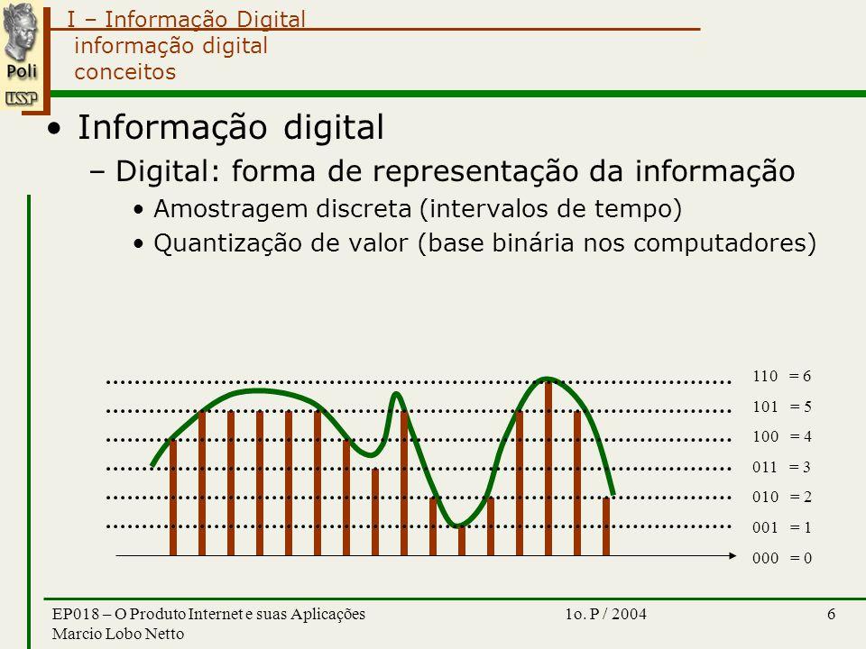 I – Informação Digital 1o. P / 2004EP018 – O Produto Internet e suas Aplicações Marcio Lobo Netto 6 informação digital conceitos Informação digital –D