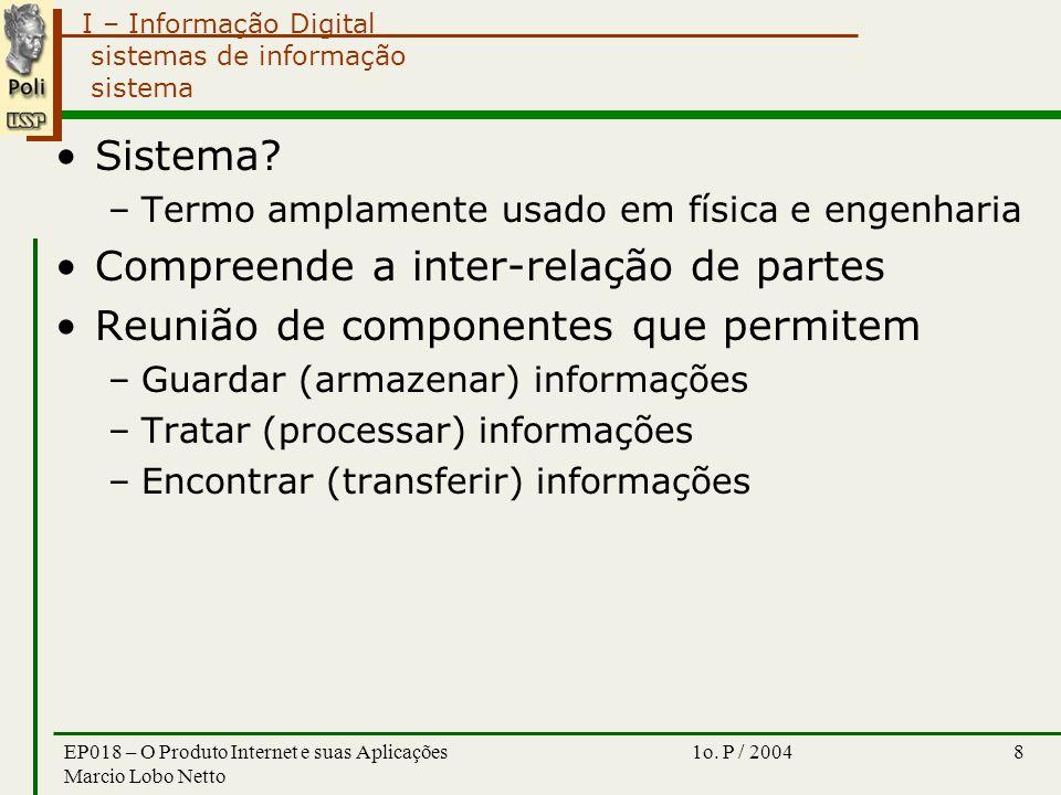I – Informação Digital 1o. P / 2004EP018 – O Produto Internet e suas Aplicações Marcio Lobo Netto 8 sistemas de informação sistema Sistema? –Termo amp