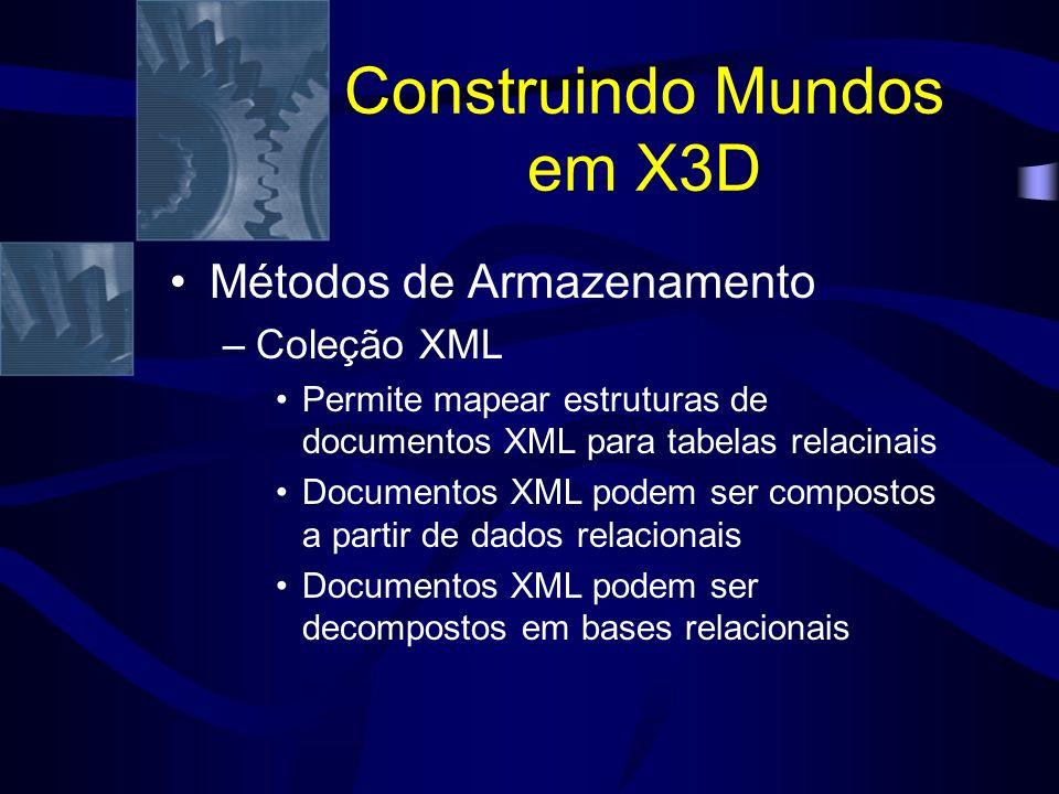 Construindo Mundos em X3D Métodos de Armazenamento –Coleção XML Permite mapear estruturas de documentos XML para tabelas relacinais Documentos XML podem ser compostos a partir de dados relacionais Documentos XML podem ser decompostos em bases relacionais