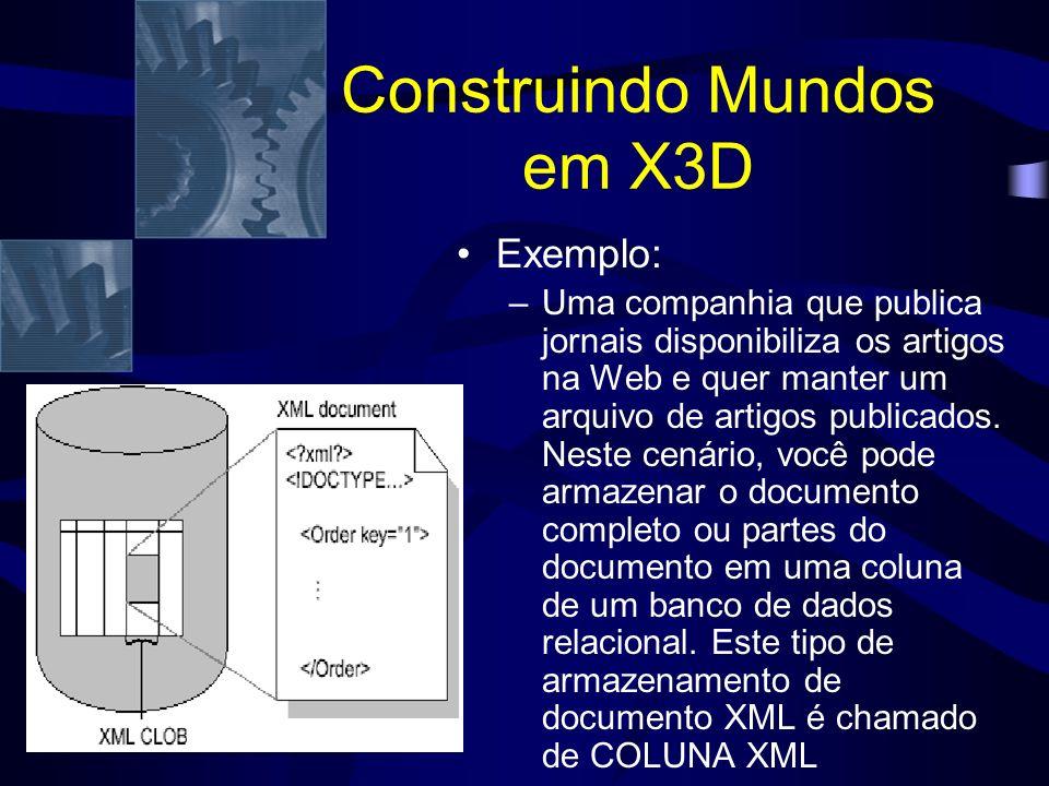 Construindo Mundos em X3D Exemplo: –Uma companhia que publica jornais disponibiliza os artigos na Web e quer manter um arquivo de artigos publicados.