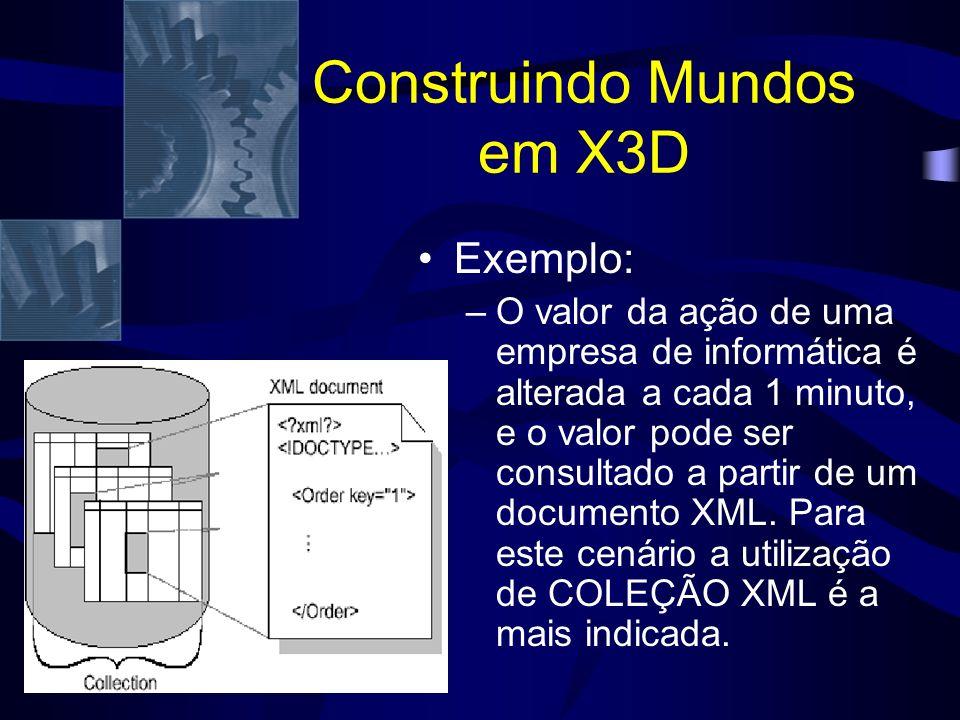 Construindo Mundos em X3D Exemplo: –O valor da ação de uma empresa de informática é alterada a cada 1 minuto, e o valor pode ser consultado a partir de um documento XML.
