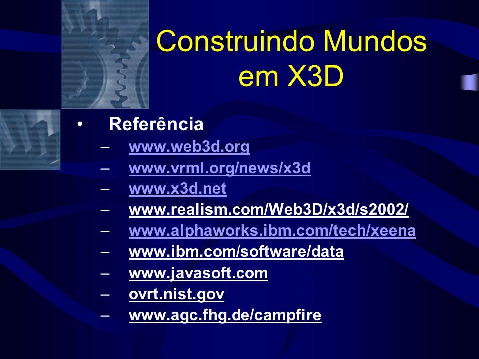 Construindo Mundos em X3D Referência –www.web3d.orgwww.web3d.org –www.vrml.org/news/x3dwww.vrml.org/news/x3d –www.x3d.netwww.x3d.net –www.realism.com/Web3D/x3d/s2002/ –www.alphaworks.ibm.com/tech/xeenawww.alphaworks.ibm.com/tech/xeena –www.ibm.com/software/data –www.javasoft.com –ovrt.nist.gov –www.agc.fhg.de/campfire