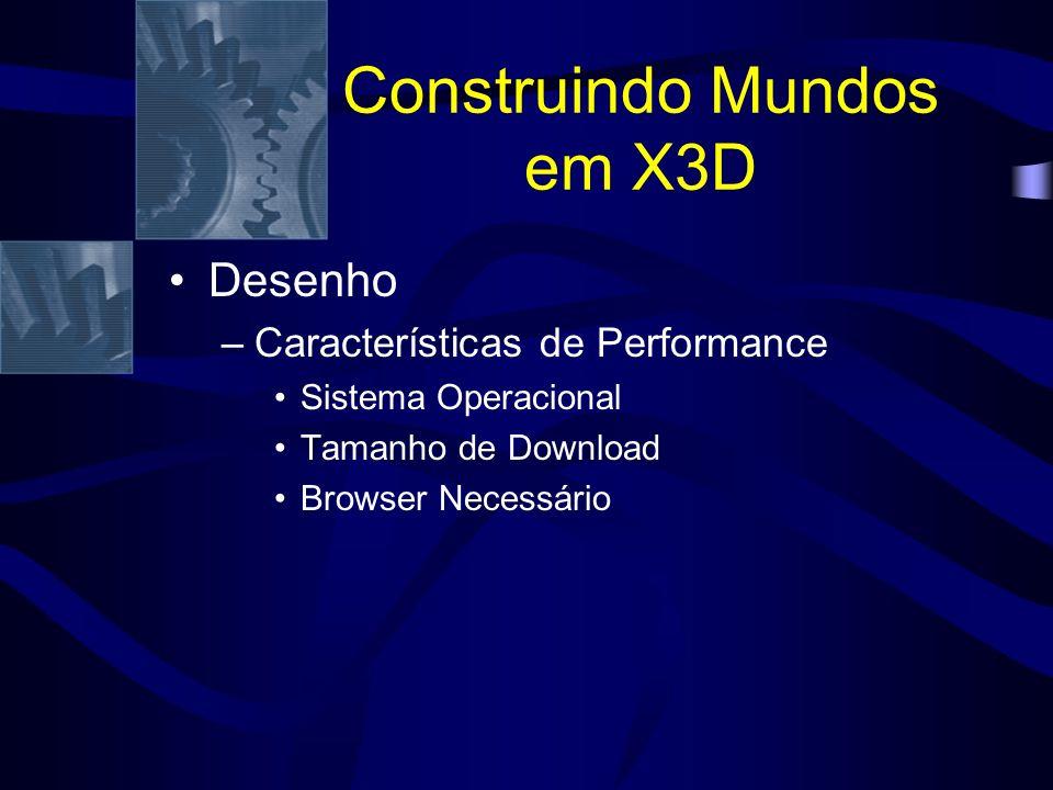 Construindo Mundos em X3D Desenho –Características de Performance Sistema Operacional Tamanho de Download Browser Necessário