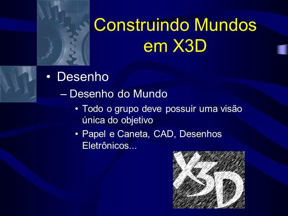 Construindo Mundos em X3D Desenho –Desenho do Mundo Todo o grupo deve possuir uma visão única do objetivo Papel e Caneta, CAD, Desenhos Eletrônicos...