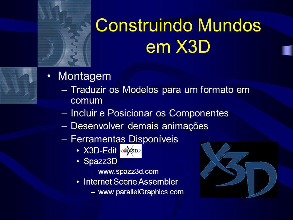 Construindo Mundos em X3D Montagem –Traduzir os Modelos para um formato em comum –Incluir e Posicionar os Componentes –Desenvolver demais animações –Ferramentas Disponíveis X3D-Edit Spazz3D –www.spazz3d.com Internet Scene Assembler –www.parallelGraphics.com