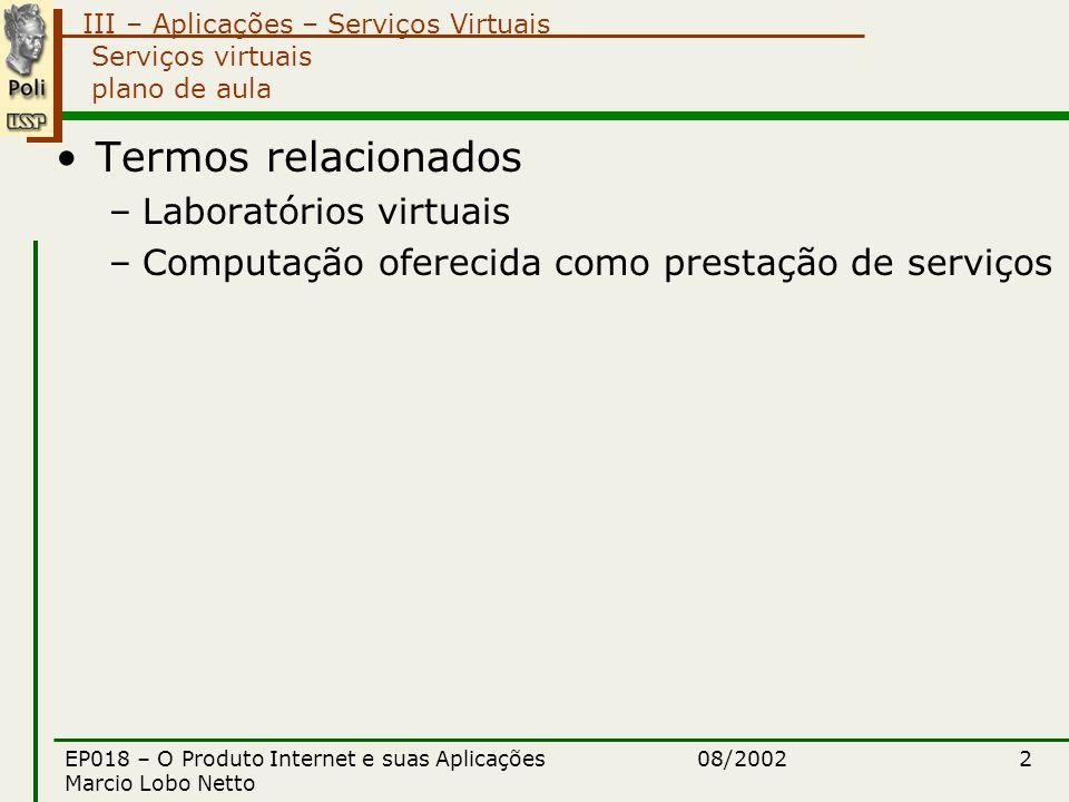 III – Aplicações – Serviços Virtuais 08/2002EP018 – O Produto Internet e suas Aplicações Marcio Lobo Netto 2 Serviços virtuais plano de aula Termos relacionados –Laboratórios virtuais –Computação oferecida como prestação de serviços