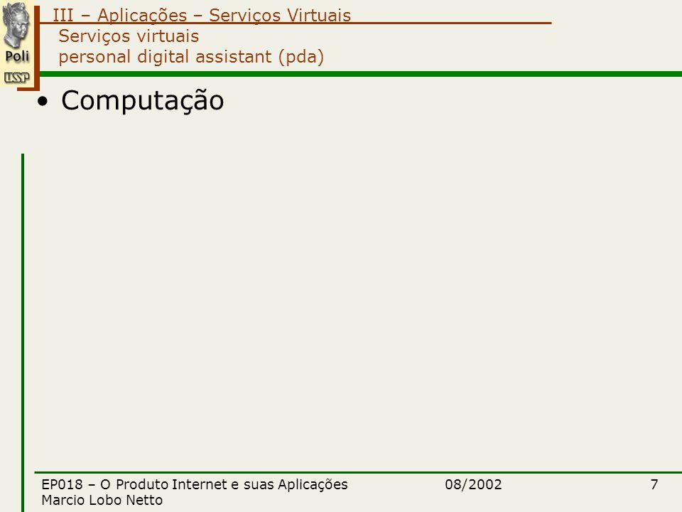 III – Aplicações – Serviços Virtuais 08/2002EP018 – O Produto Internet e suas Aplicações Marcio Lobo Netto 7 Serviços virtuais personal digital assistant (pda) Computação