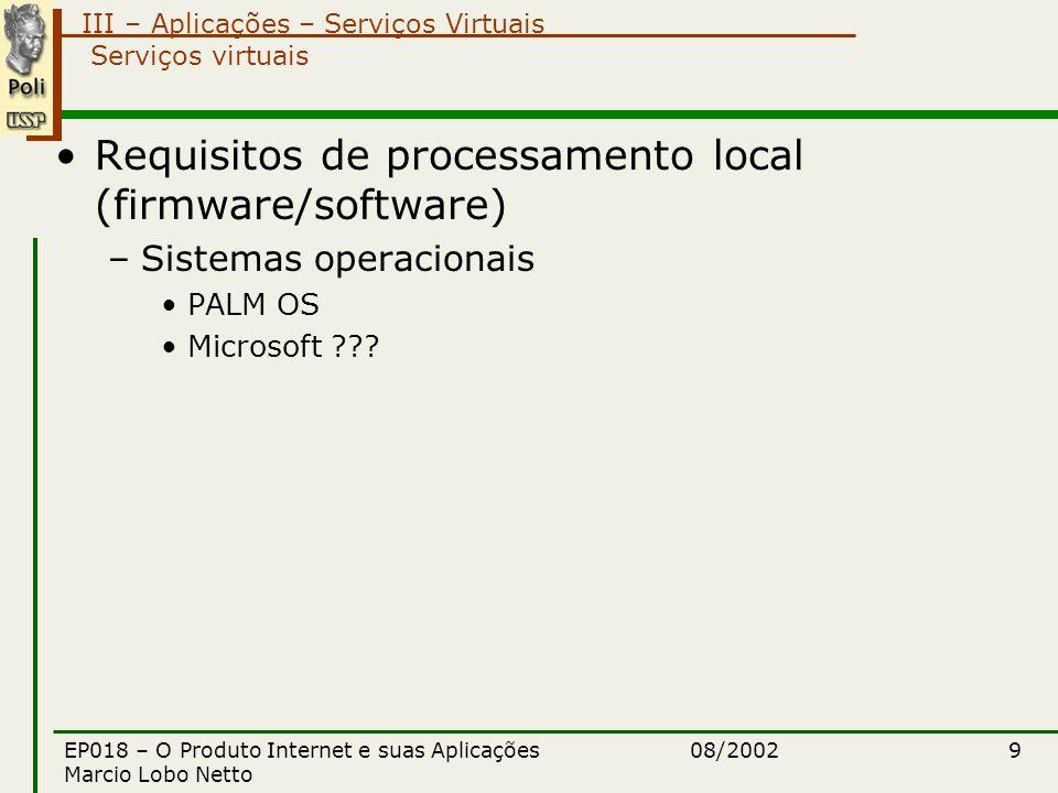 III – Aplicações – Serviços Virtuais 08/2002EP018 – O Produto Internet e suas Aplicações Marcio Lobo Netto 9 Serviços virtuais Requisitos de processamento local (firmware/software) –Sistemas operacionais PALM OS Microsoft ???