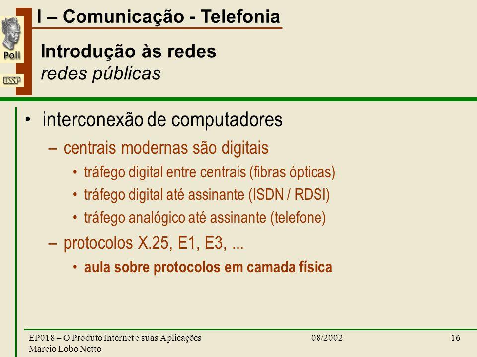 I – Comunicação - Telefonia 08/2002EP018 – O Produto Internet e suas Aplicações Marcio Lobo Netto 16 Introdução às redes redes públicas interconexão de computadores –centrais modernas são digitais tráfego digital entre centrais (fibras ópticas) tráfego digital até assinante (ISDN / RDSI) tráfego analógico até assinante (telefone) –protocolos X.25, E1, E3,...