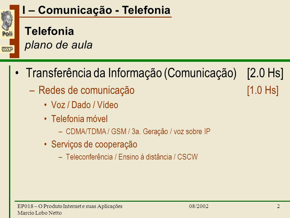 I – Comunicação - Telefonia 08/2002EP018 – O Produto Internet e suas Aplicações Marcio Lobo Netto 2 Telefonia plano de aula Transferência da Informação (Comunicação) [2.0 Hs] –Redes de comunicação [1.0 Hs] Voz / Dado / Vídeo Telefonia móvel –CDMA/TDMA / GSM / 3a.