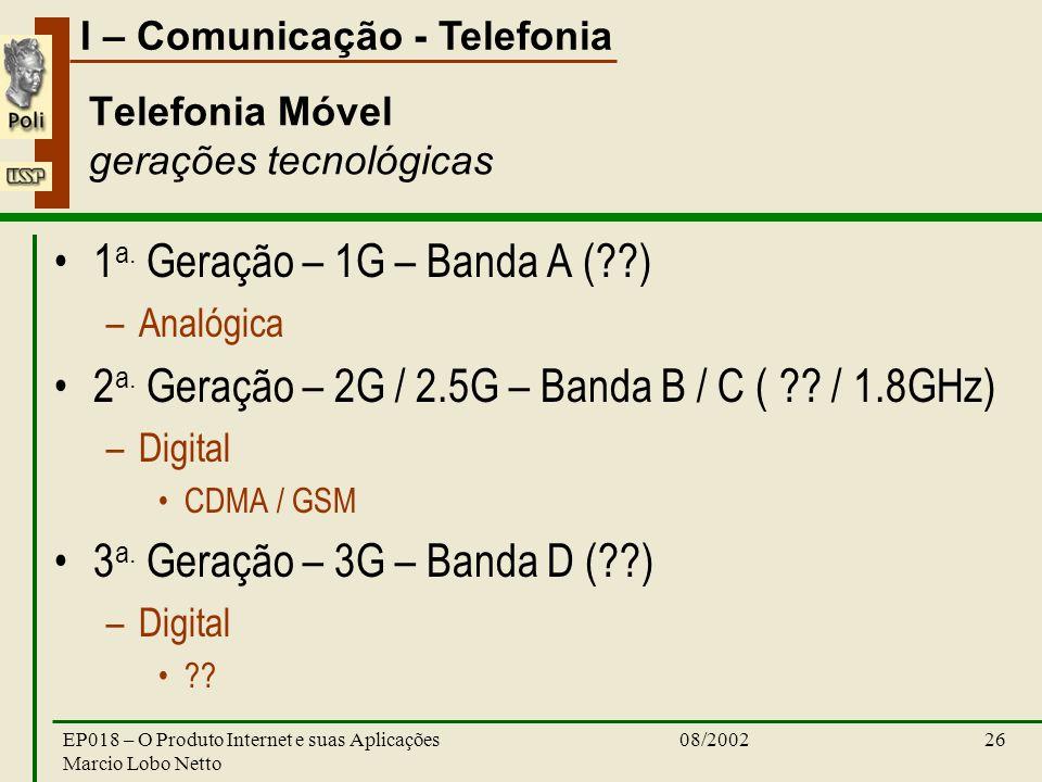 I – Comunicação - Telefonia 08/2002EP018 – O Produto Internet e suas Aplicações Marcio Lobo Netto 26 Telefonia Móvel gerações tecnológicas 1 a.