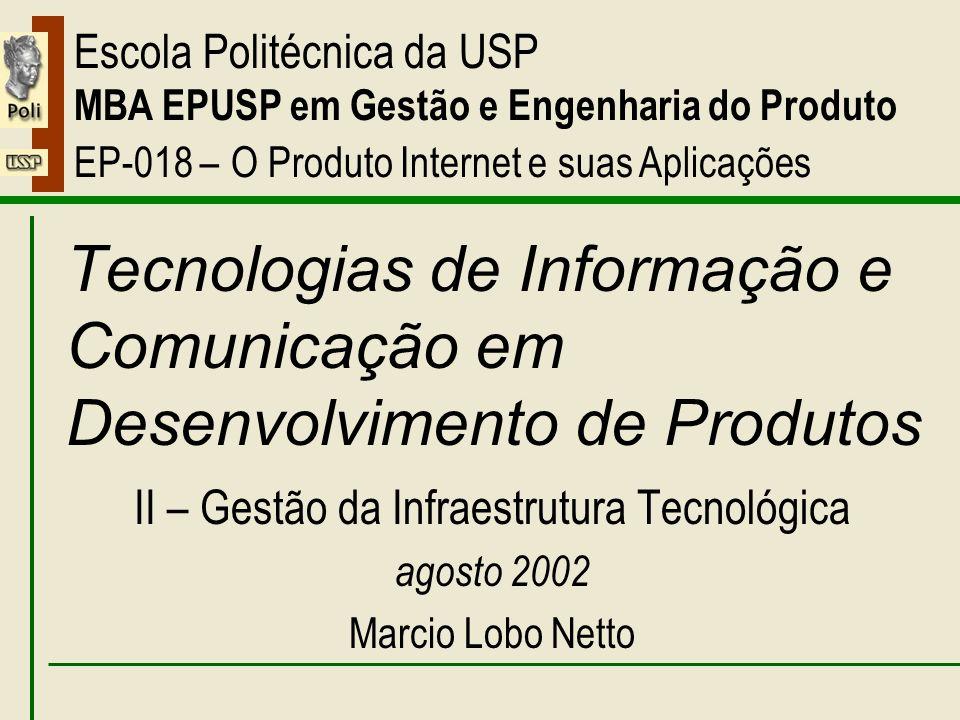 II – Gestão da Infraestrutura Tecnológica Tecnologias de Informação e Comunicação em Desenvolvimento de Produtos II – Gestão da Infraestrutura Tecnoló