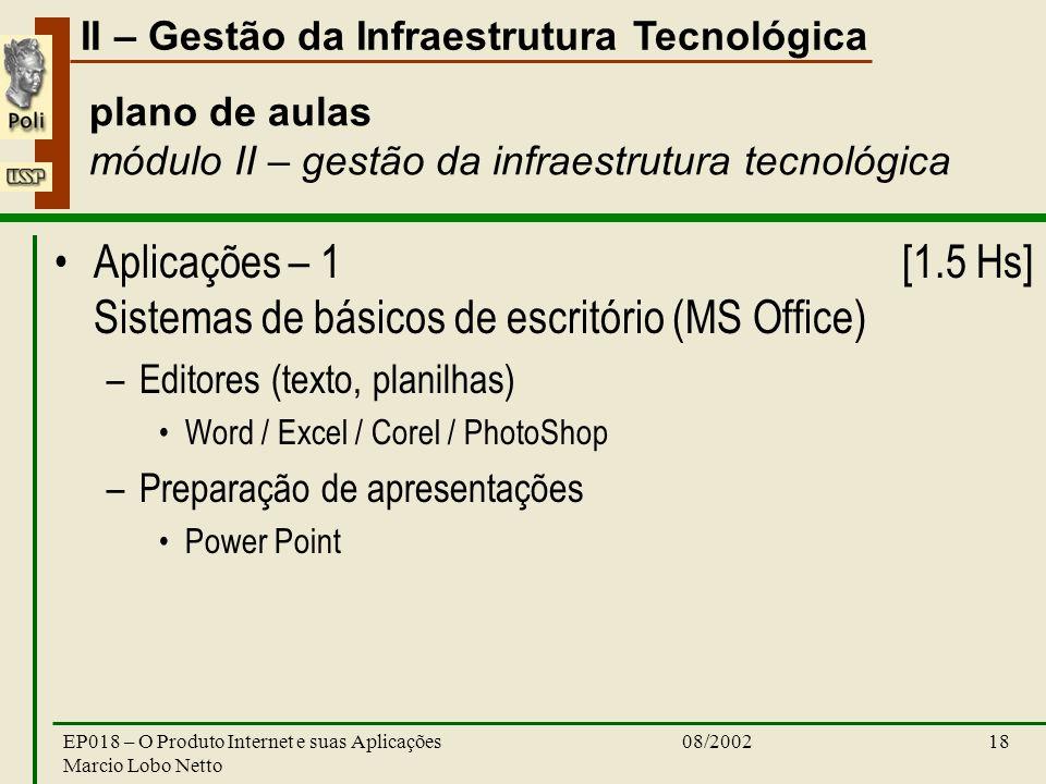II – Gestão da Infraestrutura Tecnológica 08/2002EP018 – O Produto Internet e suas Aplicações Marcio Lobo Netto 18 plano de aulas módulo II – gestão d