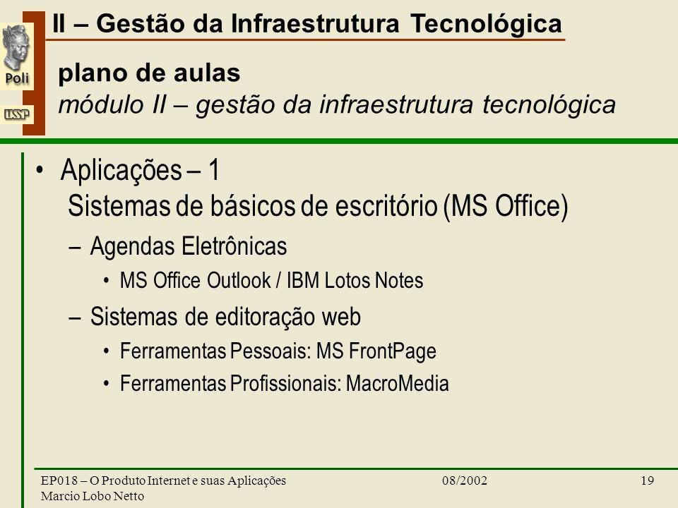 II – Gestão da Infraestrutura Tecnológica 08/2002EP018 – O Produto Internet e suas Aplicações Marcio Lobo Netto 19 plano de aulas módulo II – gestão da infraestrutura tecnológica Aplicações – 1 Sistemas de básicos de escritório (MS Office) –Agendas Eletrônicas MS Office Outlook / IBM Lotos Notes –Sistemas de editoração web Ferramentas Pessoais: MS FrontPage Ferramentas Profissionais: MacroMedia