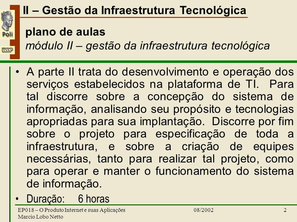II – Gestão da Infraestrutura Tecnológica 08/2002EP018 – O Produto Internet e suas Aplicações Marcio Lobo Netto 2 plano de aulas módulo II – gestão da infraestrutura tecnológica A parte II trata do desenvolvimento e operação dos serviços estabelecidos na plataforma de TI.