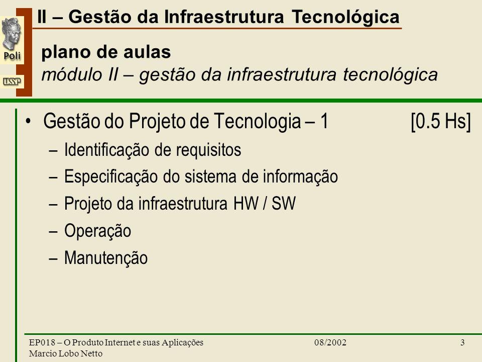 II – Gestão da Infraestrutura Tecnológica 08/2002EP018 – O Produto Internet e suas Aplicações Marcio Lobo Netto 3 plano de aulas módulo II – gestão da infraestrutura tecnológica Gestão do Projeto de Tecnologia – 1 [0.5 Hs] –Identificação de requisitos –Especificação do sistema de informação –Projeto da infraestrutura HW / SW –Operação –Manutenção